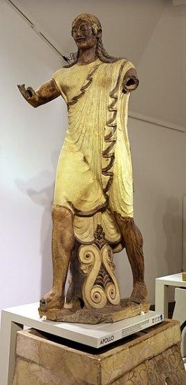 Apollo from Veii. Terracotta. Heigh 181 cm. Late 6th c. BCE. Rome, Villa Giulia [wikimedia]