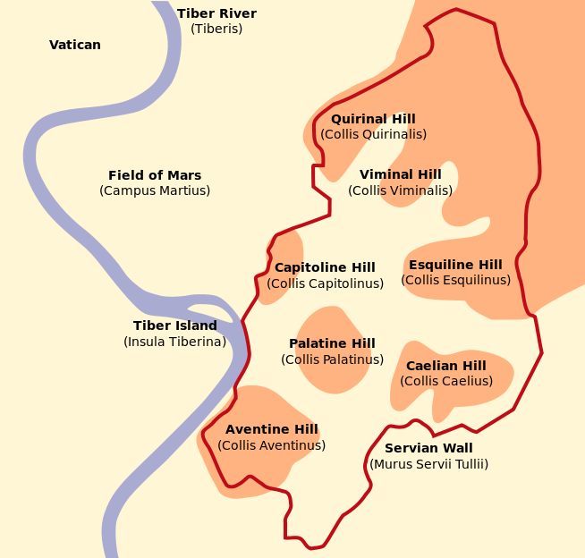 7 hills of Rome and Servian wall wikimedia Orangeowl.png