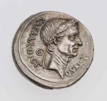 Denarius with head of C. Julius Caesar, struck under M. Mettius OBVERSE