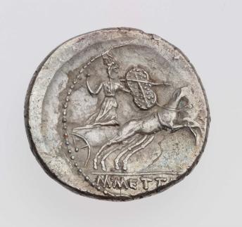 Denarius with head of C. Julius Caesar, struck under M. Mettius REVERSE