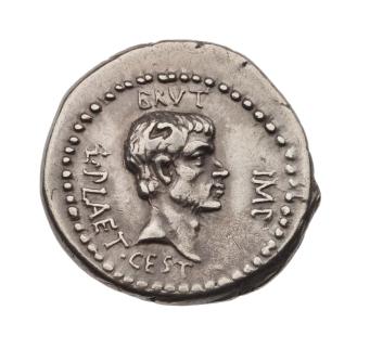 Denarius with head of M. Junius Brutus, struck under L. Plaetorius Cestianus OBVERSE