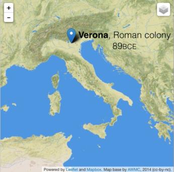 Verona 89 BCE Roman colony.png