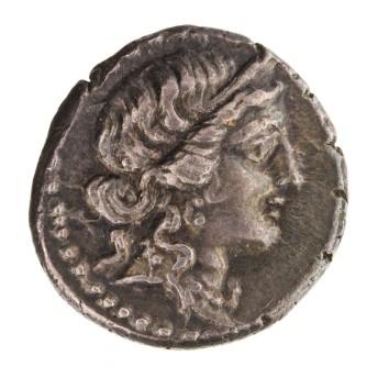 Venus obverse Silver Denarius, Africa, 47 B.C. - 46 B.C.. 1941.131.302
