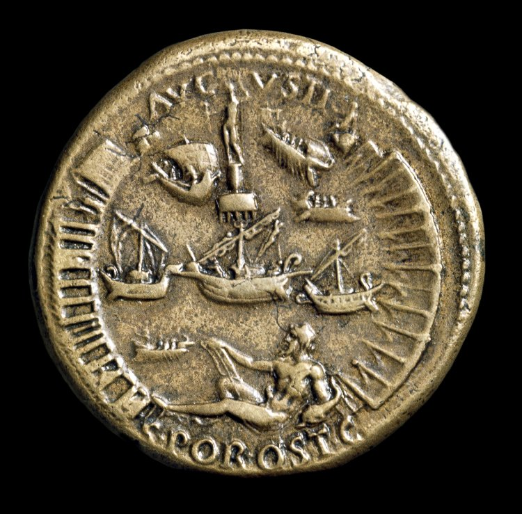 coin of nero showing the harbour at Ostia.jpg