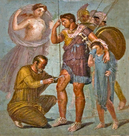fresco with wounded Aeneas, House of Siricus in Pompeii, first century CE.